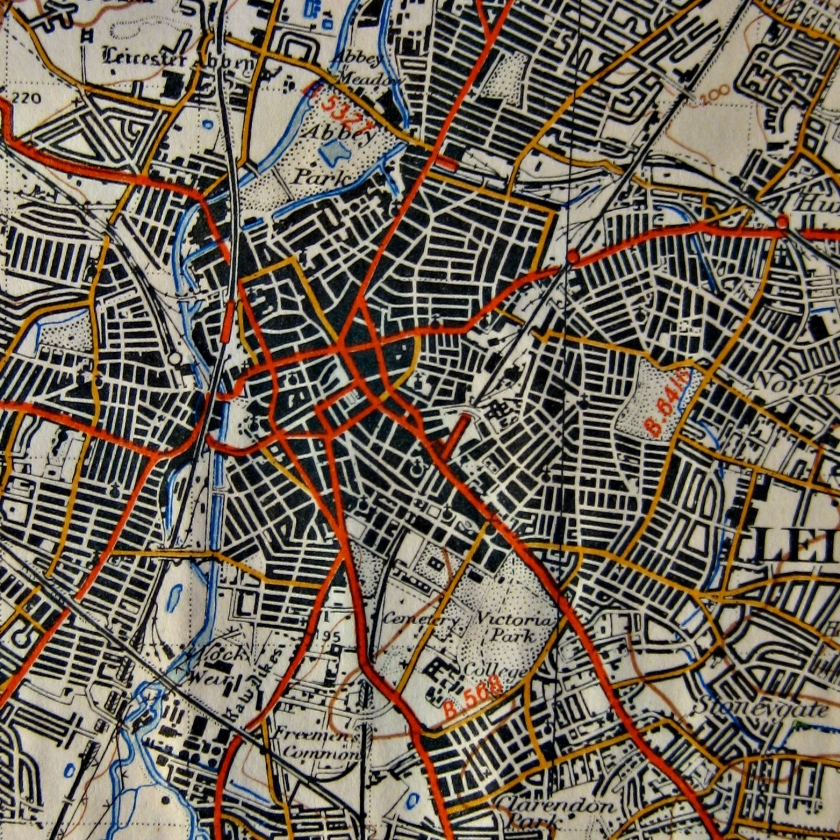 A map of Leicester from 1947 (stolen from the internet).